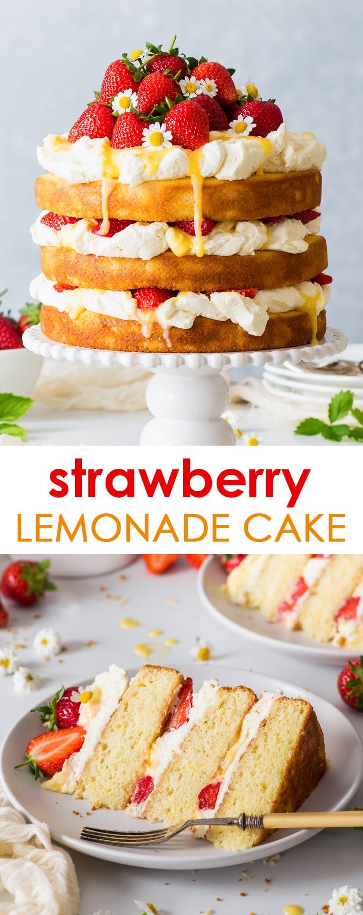Strawberry Lemonade Cake (Gluten Free) - [SPONSORED] Strawberries, lemon curd, fluffly lemon sponges, the most delicious mascarpone frosting… this strawberry lemonade cake couldn't be more delicious if it tried. Have I mentioned it's also easy to make and gluten free? Lemon cake recipe. Gluten free cake. Naked cake. Mascarpone cheese frosting. Strawberry cake. Summer recipes. Cake decorating. Whipped cream frosting. Layer cake recipe. #cake #glutenfree