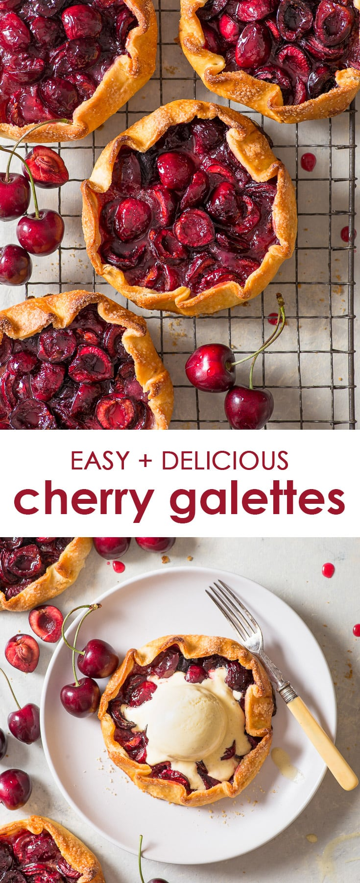 Cherry Galettes (Gluten Free) - Boasting the perfect flaky, buttery pie crust and a juicy cherry filling, these cherry galettes will have you coming back for seconds… and thirds. Plus, they're dead easy to make and gluten free! Gluten free pie. Cherry pie. Cherry pie filling. Gluten free pie crust recipe. Gluten free dessert. Cherry dessert recipes. How to make pie pastry. Crostata recipe. Galette recipe. Cherry recipes. #pie #glutenfree