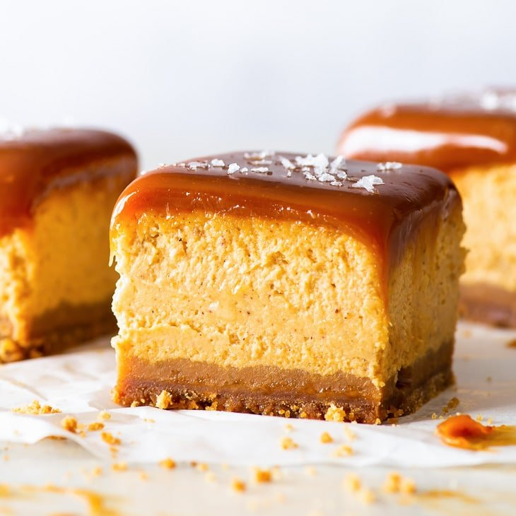 Salted Caramel Pumpkin Cheesecake Bars The Loopy Whisk