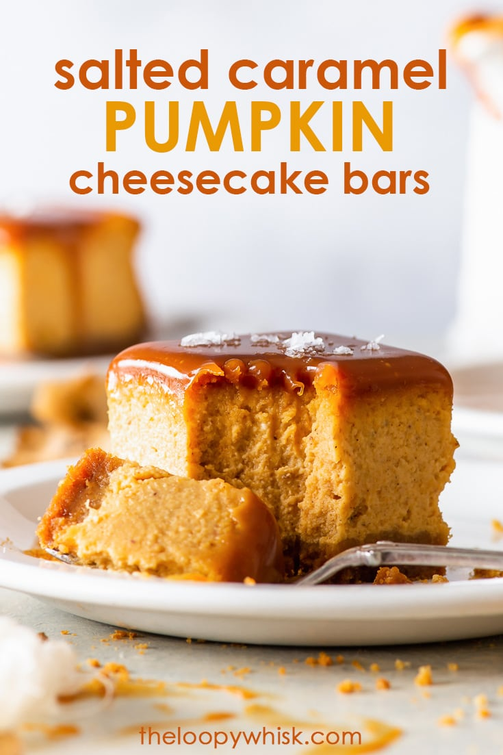 Salted Caramel Pumpkin Cheesecake Bars (Gluten Free) - These salted caramel pumpkin cheesecake bars are the PERFECT fall dessert. From their crunchy ginger biscuit crust to the creamy pumpkin cheesecake filling, the textures and flavours are simply divine. And let's not forget the luxurious salted caramel layer, which takes this pumpkin dessert to a whole new level. Fall recipes. Pumpkin recipes. Cheesecake recipes. Pumpkin spice. Pumpkin pie. #pumpkinspice #cheesecake