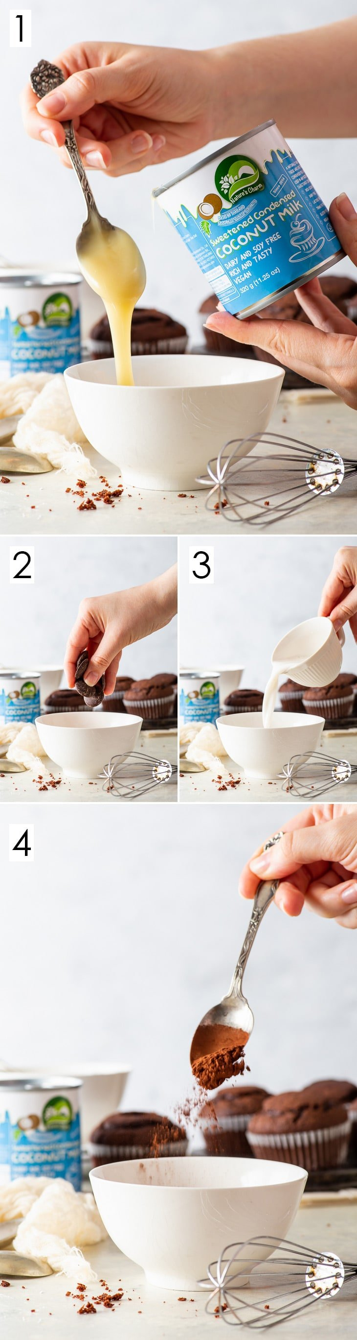 4 step process of making vegan chocolate fudge sauce.