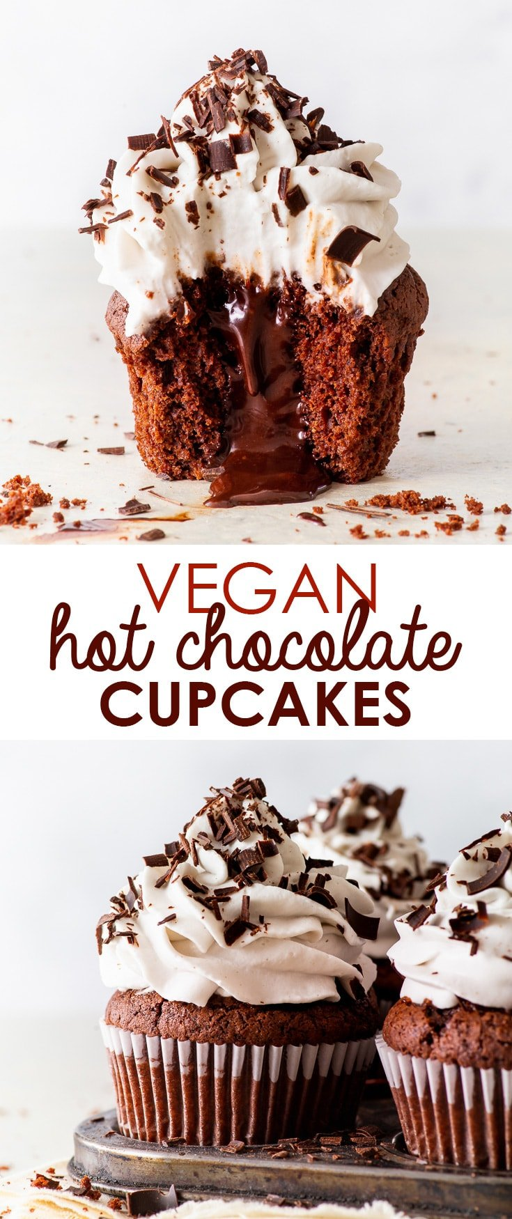 Vegan Hot Chocolate Cupcakes [SPONSORED] - You will LOVE these vegan hot chocolate cupcakes, with their luxurious chocolate fudge sauce centre and fluffy swirl of vegan whipped cream frosting. The cupcakes themselves are moist and chocolatey, and incredibly easy to make – without any egg replacements! Vegan cupcakes. Vegan desserts. Vegan recipes. Vegan chocolate sauce. Vegan frosting. Dairy free recipes. Dairy free cupcakes. #vegan #cupcakes