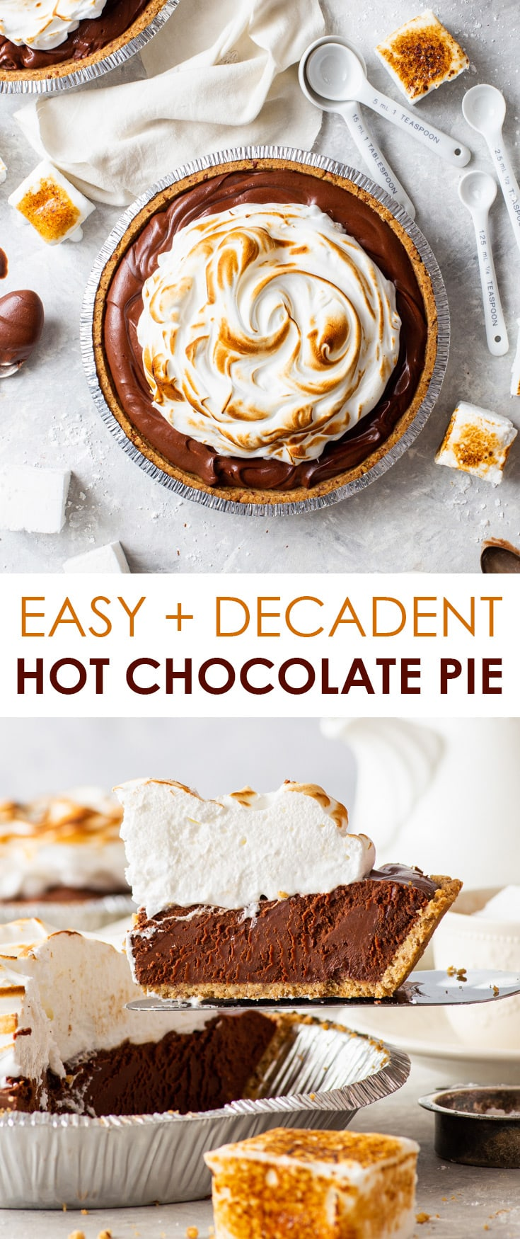 Easy + Decadent Hot Chocolate Pie [SPONSORED] - Meet your new favourite dessert: a hot chocolate pie that's stupid-easy to prepare (and can be prepared in advance!), has the most luscious chocolate filling (that's somewhere between a chocolate ganache and chocolate mousse) AND boasts a perfectly toasted Swiss meringue topping. Chocolate pie recipe. Chocolate desserts. Christmas desserts. Christmas recipes. Winter recipes. Holiday recipes. No bake recipes. #chocolate #pie