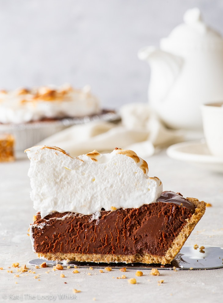 Close-up of a piece of hot chocolate pie.