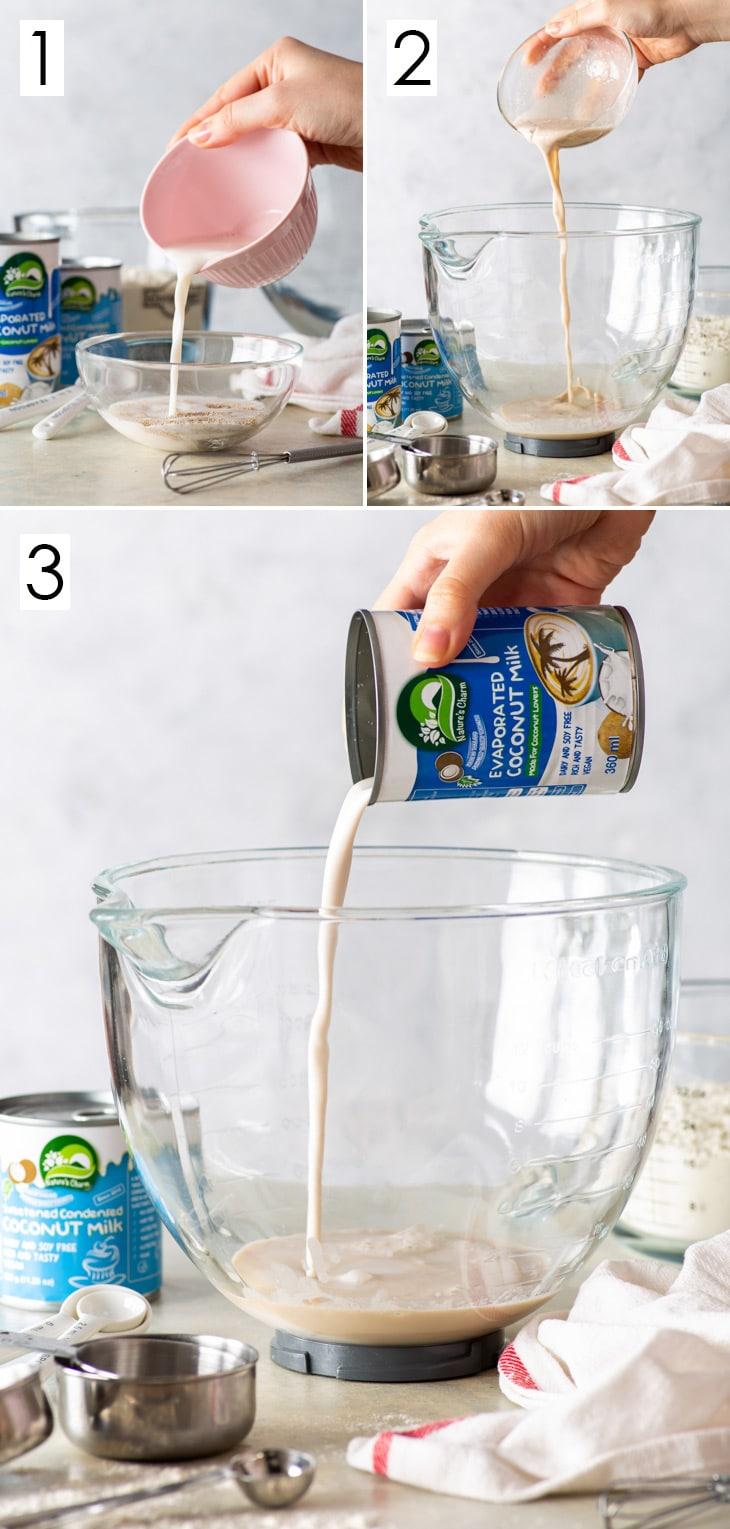 6-step process of making vegan brioche dough for the babka, steps 1-3.
