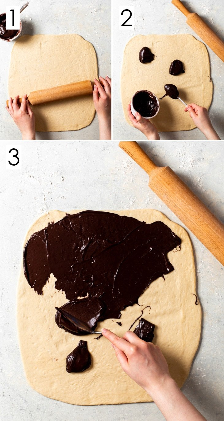 8-step process of assembling the vegan chocolate babka, steps 1-3.