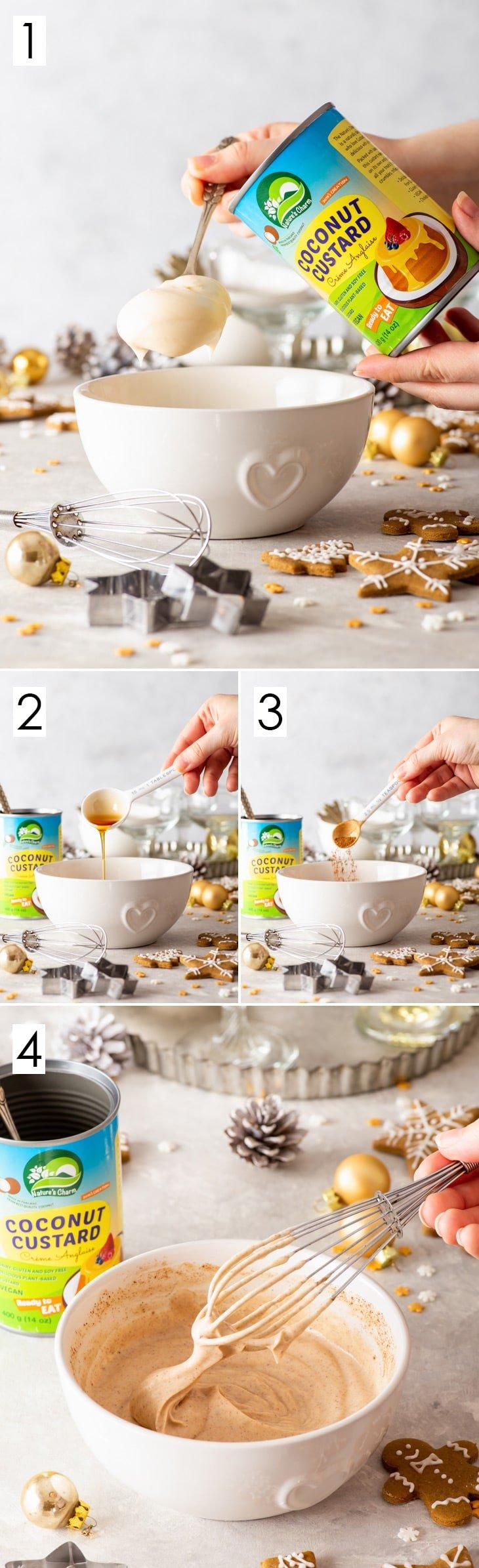 4-step process of making the vegan cinnamon & maple syrup coconut custard.