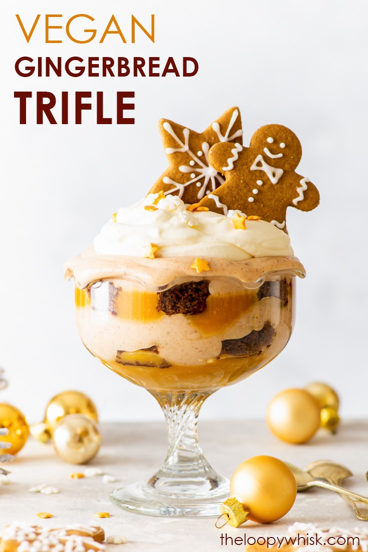 Vegan Gingerbread Christmas Trifle [SPONSORED] - From the vegan gingerbread sponge to the generous drizzle of butterscotch sauce and the adorable gingerbread cookies decoration, this vegan gingerbread trifle is the perfect vegan Christmas dessert. Easy vegan desserts. Vegan Christmas dessert. Vegan Christmas recipe. Gingerbread cake. Christmas cake. Vegan caramel sauce. Christmas entertaining ideas. Christmas party ideas. #christmas #vegan