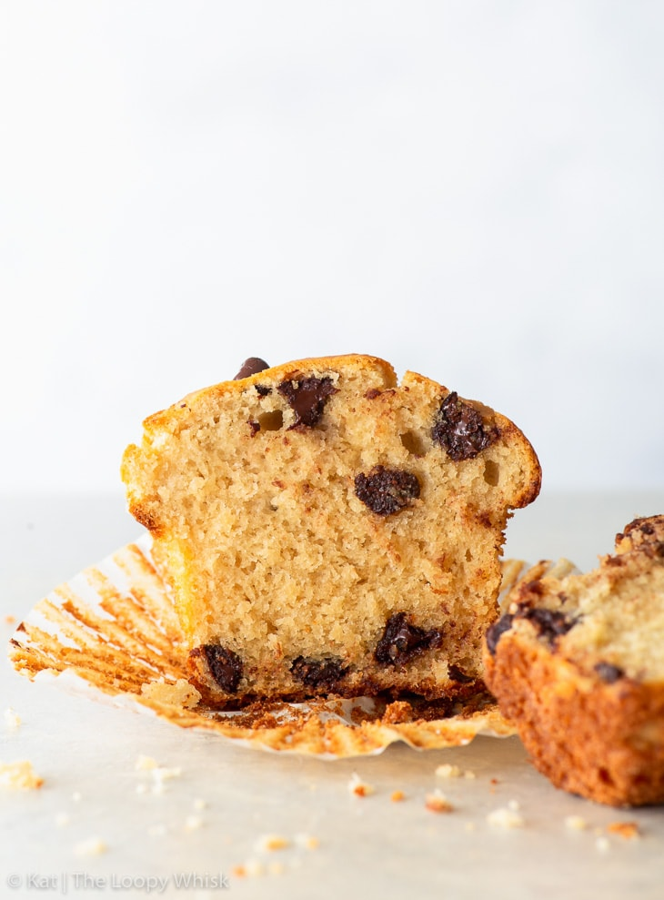Cross section of a gluten free bakery style chocolate chip muffin.