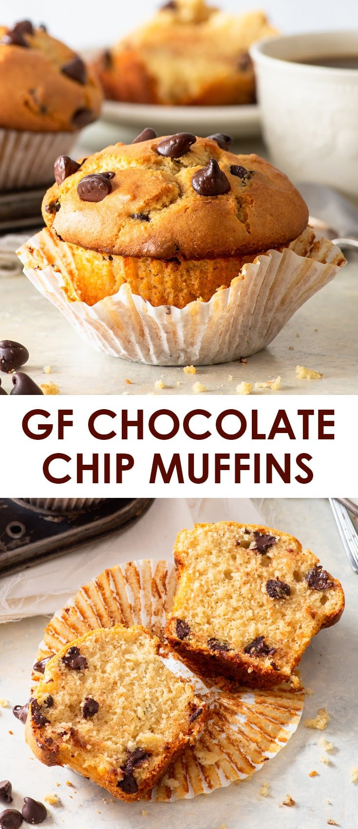 Bakery Style Gluten Free Chocolate Chip Muffins - These gluten free bakery style chocolate chip muffins tick all the boxes: they're easy to make, have a fluffy and moist crumb and a beautifully caramelised, proudly domed muffin top. Plus, some useful tips about how to keep your muffins moist and fluffy, and how to prevent the chocolate chips from sinking! Gluten free muffins. Gluten free recipes. Bakery style muffins. Jumbo muffins. Easy muffin recipes. #glutenfree #muffins