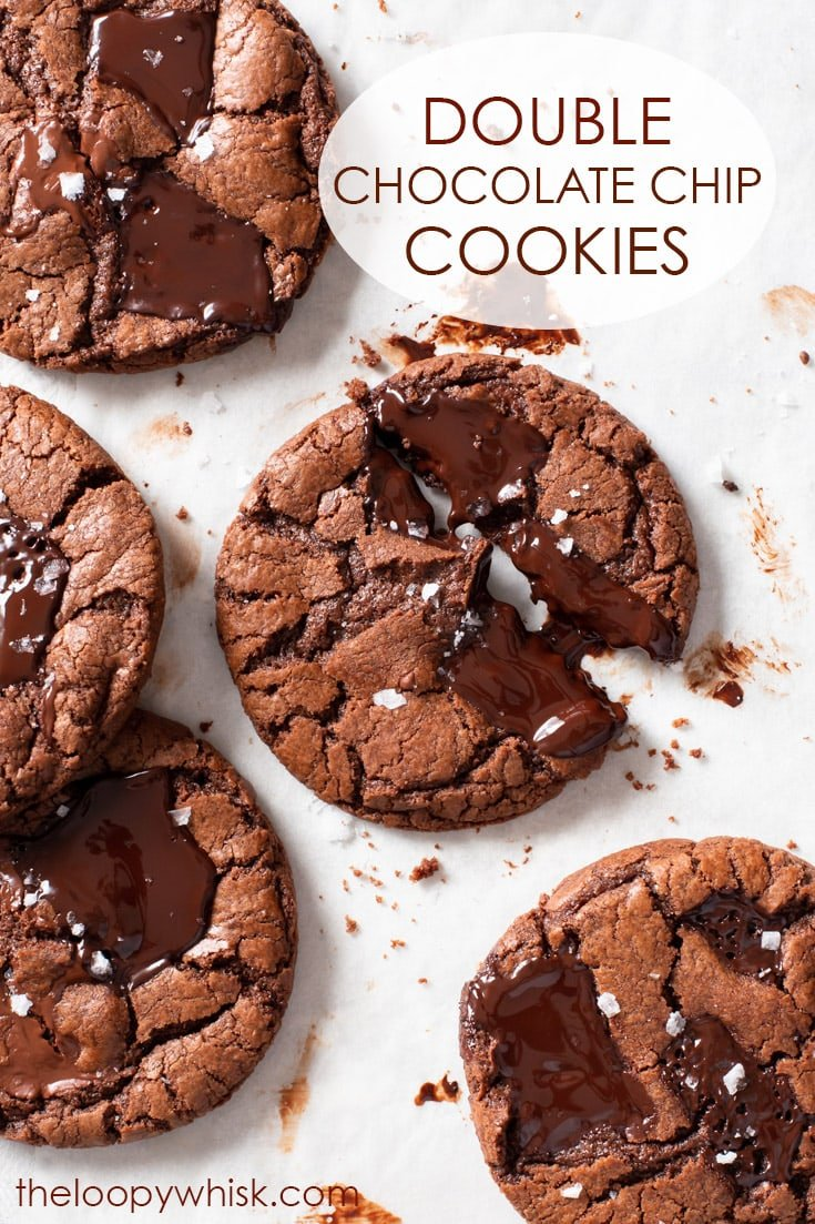 Ultra Chocolatey Double Chocolate Chip Cookies (Gluten Free) - Chocoholics, rejoice. These double chocolate chip cookies are ultra chocolatey, fudgy in the middle, crisp round the edges and delicious all over. They're especially amazing still slightly warm, with a generous sprinkling of flaky sea salt. Gluten free cookies. Chocolate cookies. Gluten free dessert recipes. Easy cookie recipes. Easy dessert recipe. #chocolate #cookies