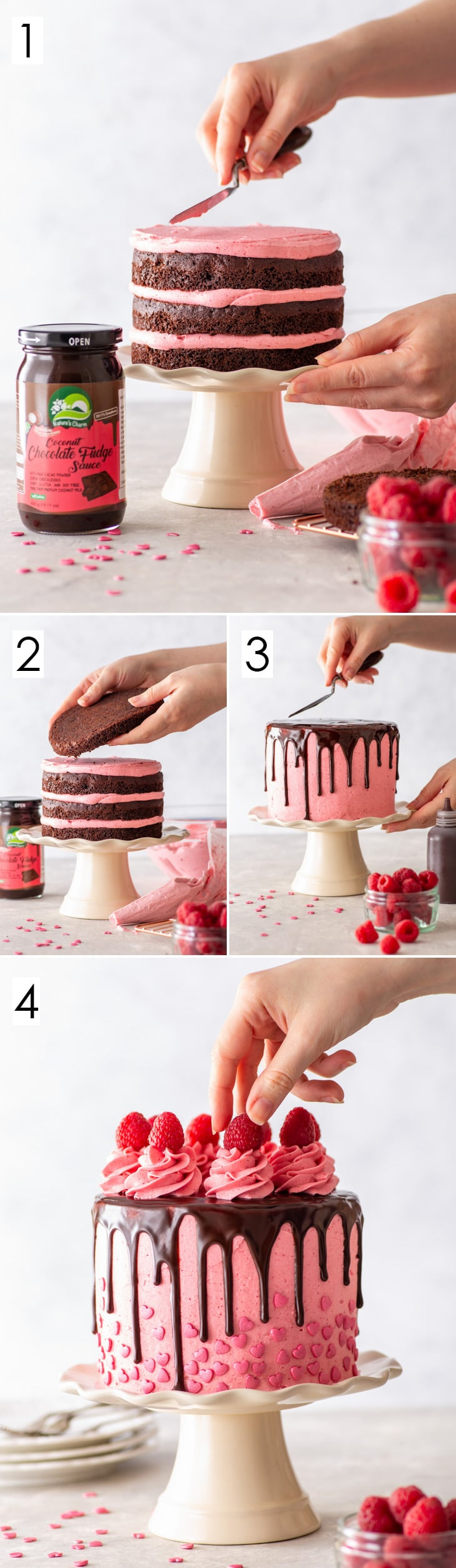 4-step process of assembling the vegan chocolate raspberry cake.