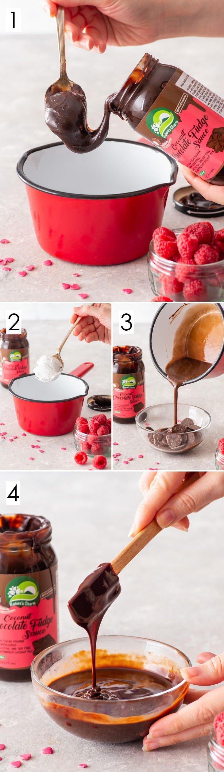 4-step process of making the vegan chocolate ganache drip.