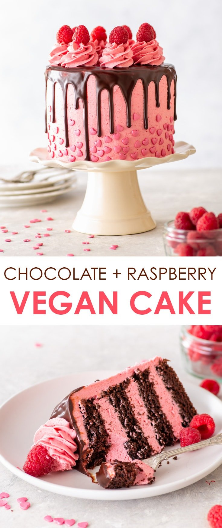 Vegan Chocolate Raspberry Cake [SPONSORED] - Meet your new favourite vegan layer cake. It's the perfect Valentine's Day dessert – but omit the heart sprinkles, and you've got yourself a vegan showstopper for any day of the year. It's easy to make, requires no egg replacements and every bite will send you straight to chocolate + raspberry heaven. Vegan cake recipe. Vegan desserts. Vegan chocolate ganache. Vegan buttercream frosting. Chocolate cake recipe. #vegan #cake