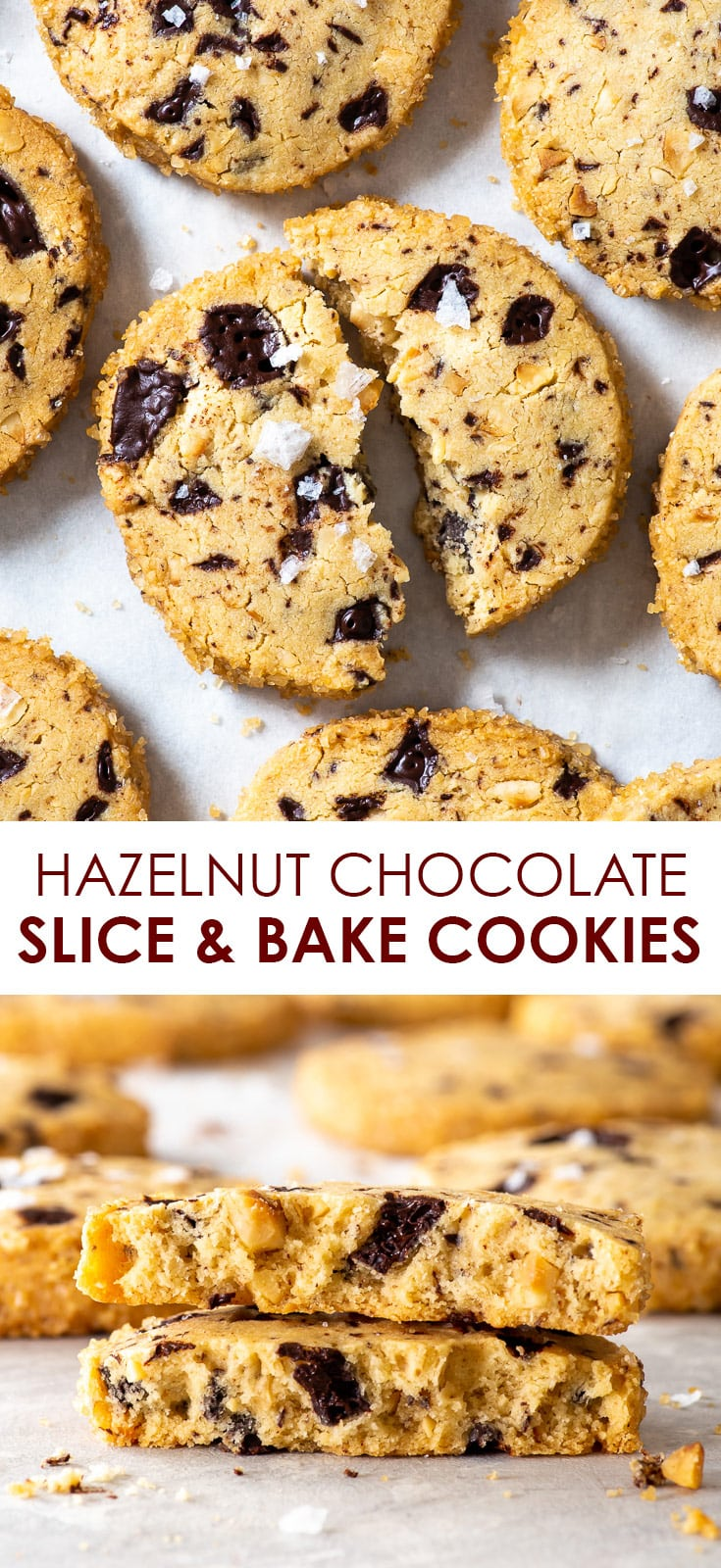 Hazelnut Chocolate Slice and Bake Eggless Cookies (Gluten Free, Egg Free) - Here's why you'll love these slice and bake eggless cookies: they're easy to make, require no fancy equipment, have the most wonderful buttery melt-in-the-mouth texture and the hazelnut + chocolate combination is simply to die for. Chocolate cookies recipe. Gluten free cookies. Easy cookie recipe. Gluten free dessert. #cookies #glutenfree