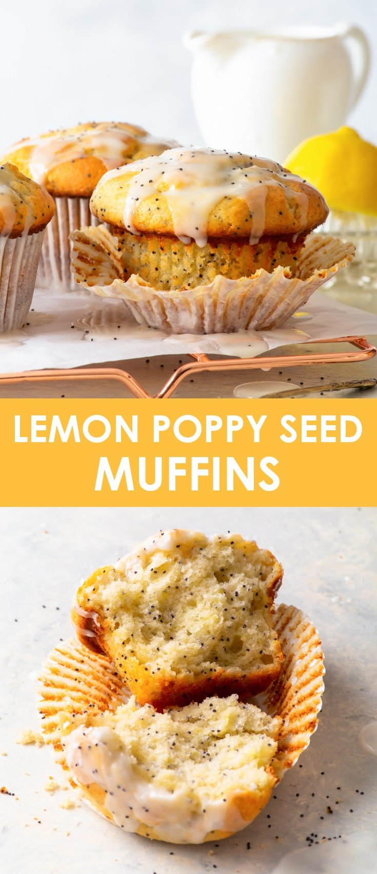 Lemon Poppy Seed Muffins (Gluten Free) - You will LOVE these lemon poppy seed muffins, with their fluffy, moist, flavour-packed interior, the gorgeous tall bakery-style muffin top and the tangy lemon icing. They're super easy to make and gluten free! Gluten free muffins. Gluten free dessert recipes. Lemon desserts. Easy muffin recipe. Gluten free breakfast recipe ideas. Easy dessert recipe. Lemon drizzle. #muffins #glutenfree