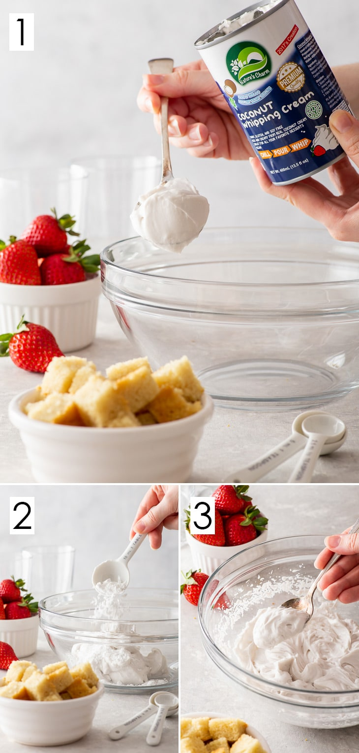 Three step process of making whipped coconut cream.