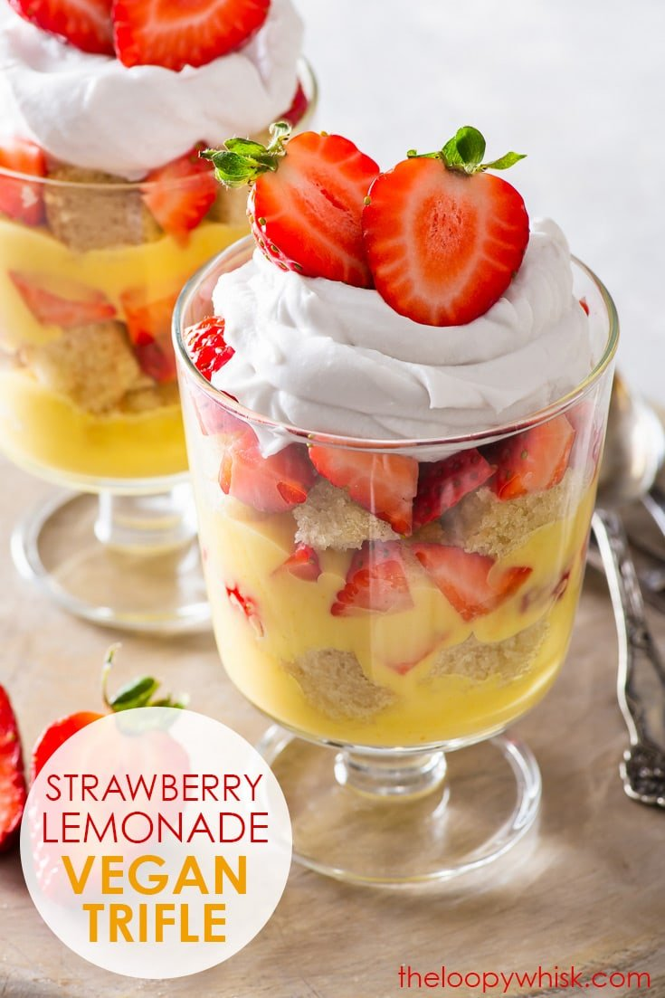 Strawberry Lemonade Vegan Trifle - From the fluffy vegan vanilla sponge to the delicious lemon custard, this easy vegan strawberry lemonade trifle is an all-round winner. It's the perfect vegan dessert for special occasions, quick to put together, and simply gorgeous with its colourful layers. Vegan recipe. Vegan cake recipe. Egg free recipe. Dairy free cake. Dairy free dessert. Vegan custard. Lemon dessert. Strawberry dessert. Trifle recipe. #vegan #trifle