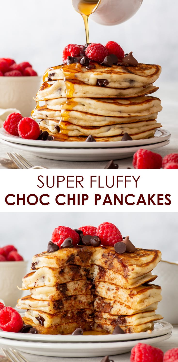 Super Fluffy Gluten Free Chocolate Chip Pancakes - These chocolate chip pancakes tick ALL the boxes: they're thick, soft and incredibly fluffy, absolutely packed with chocolate and super easy to prepare. Easy pancake recipe. Gluten free pancakes. Gluten free breakfast recipes. Gluten free dessert. Chocolate dessert. Fluffy pancakes. American pancakes. Breakfast ideas. Breakfast inspiration. #pancakes #glutenfree