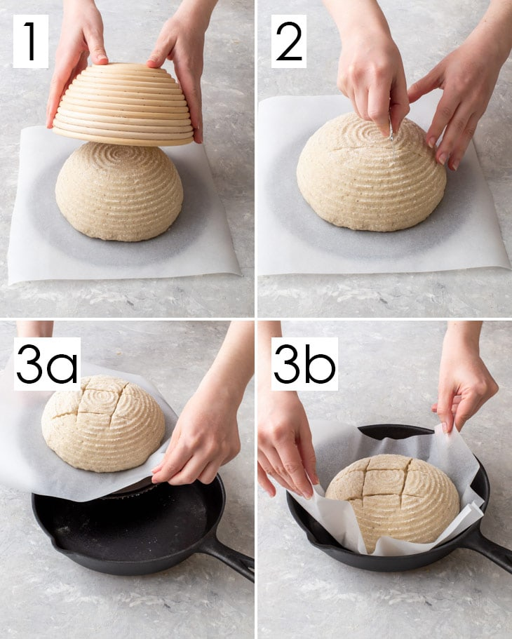 Four step process of turning the bread out of the proofing basket, scoring and placing into the hot cast iron skillet.