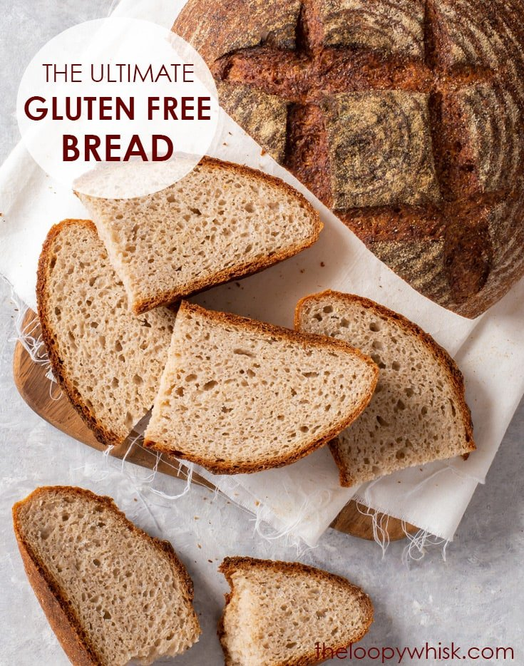 The Ultimate Gluten Free Bread Recipe (Artisan Style Loaf) - This gluten free bread is the real deal – with a soft, chewy open crumb and a deliciously crisp caramelised crust. It's super easy to prepare, and it behaves similarly to regular wheat bread: it can be kneaded and shaped, and goes though two rounds of rising. And it's vegan – no eggs or dairy products needed! Vegan bread. Easy bread recipe. Homemade bread. Gluten free baking. Gluten free recipe. #glutenfree #bread