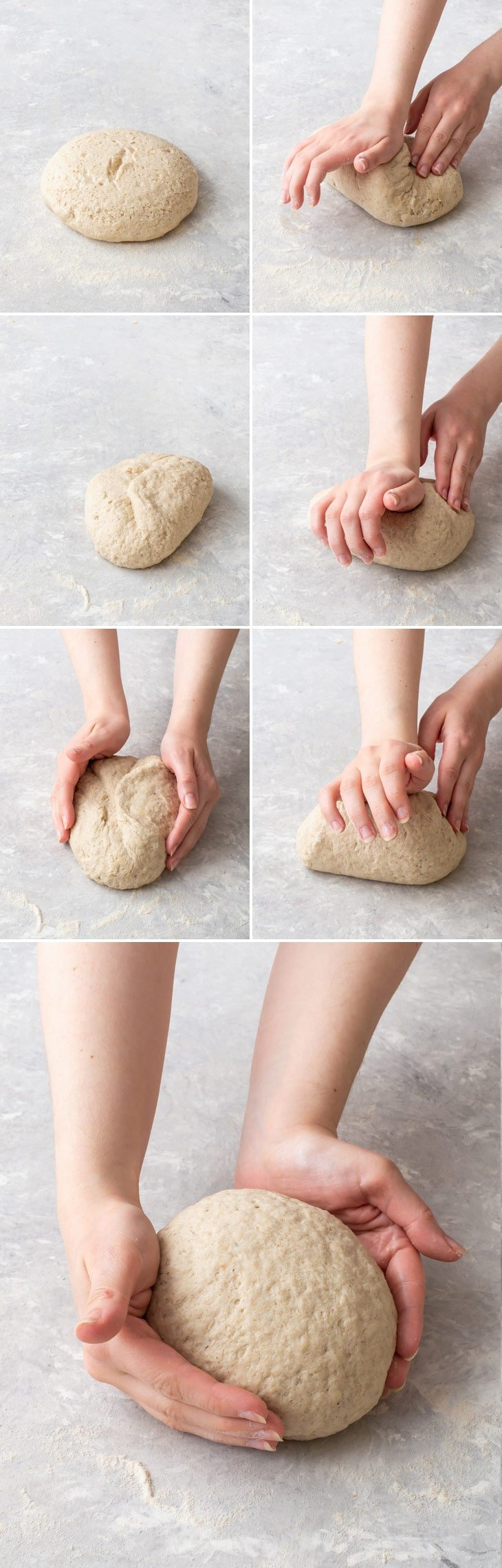 Step-by-step photos of shaping the gluten free bread.