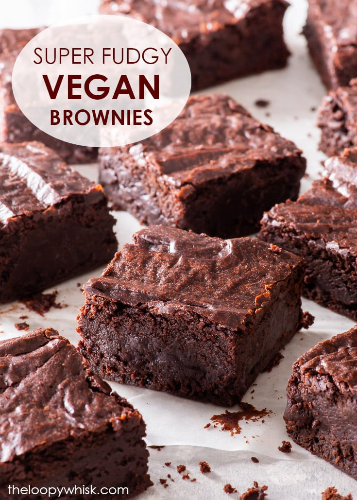 The Ultimate Fudgy Vegan Chocolate Brownies - These are the best vegan brownies you'll ever taste. Not only are they perfectly fudgy and intensely chocolatey, they also boast that elusive, beautiful shiny paper-thin crust. On top of that, they're dead easy to make, require only 7 ingredients – and no egg replacements or aquafaba! Dairy free brownies. Vegan recipe. Vegan dessert. Easy brownie recipe. Fudgy brownies. Gooey brownies. Vegan baking ideas. Chocolate dessert. #brownies #vegan