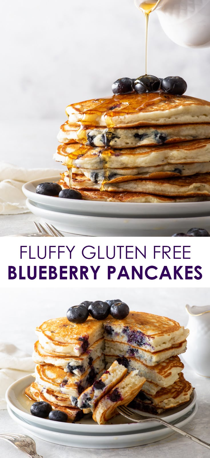Pinterest image for gluten free blueberry pancakes, in the form of a collage.