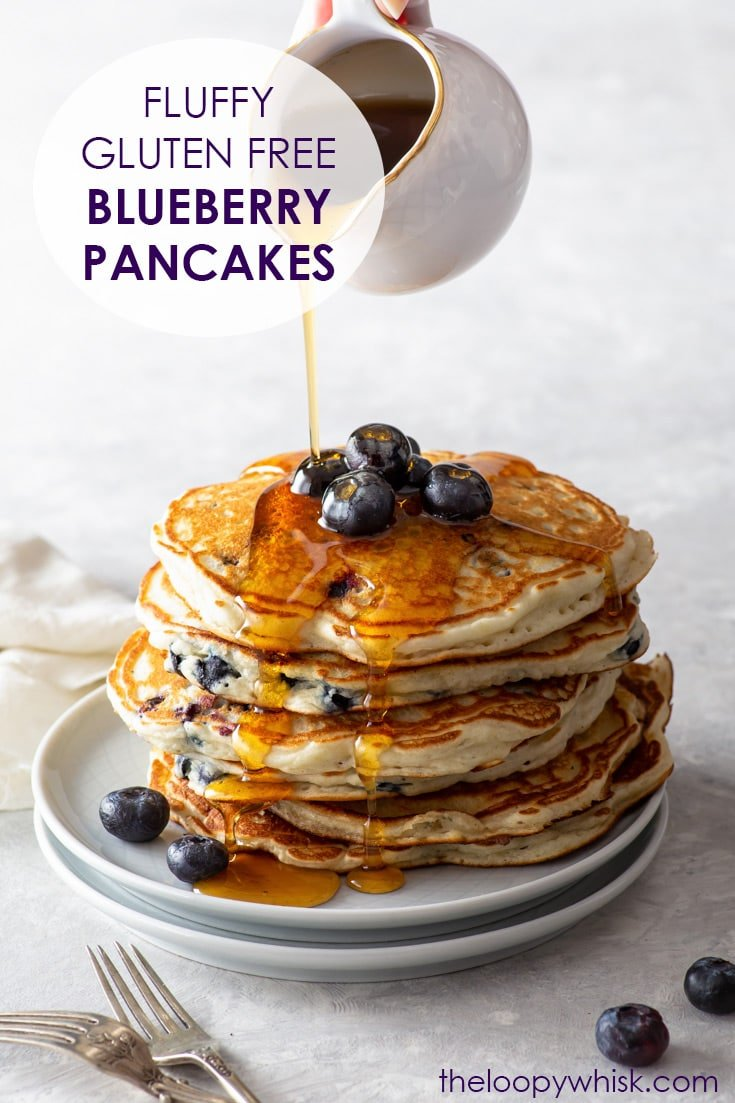 Pinterest image for gluten free blueberry pancakes.