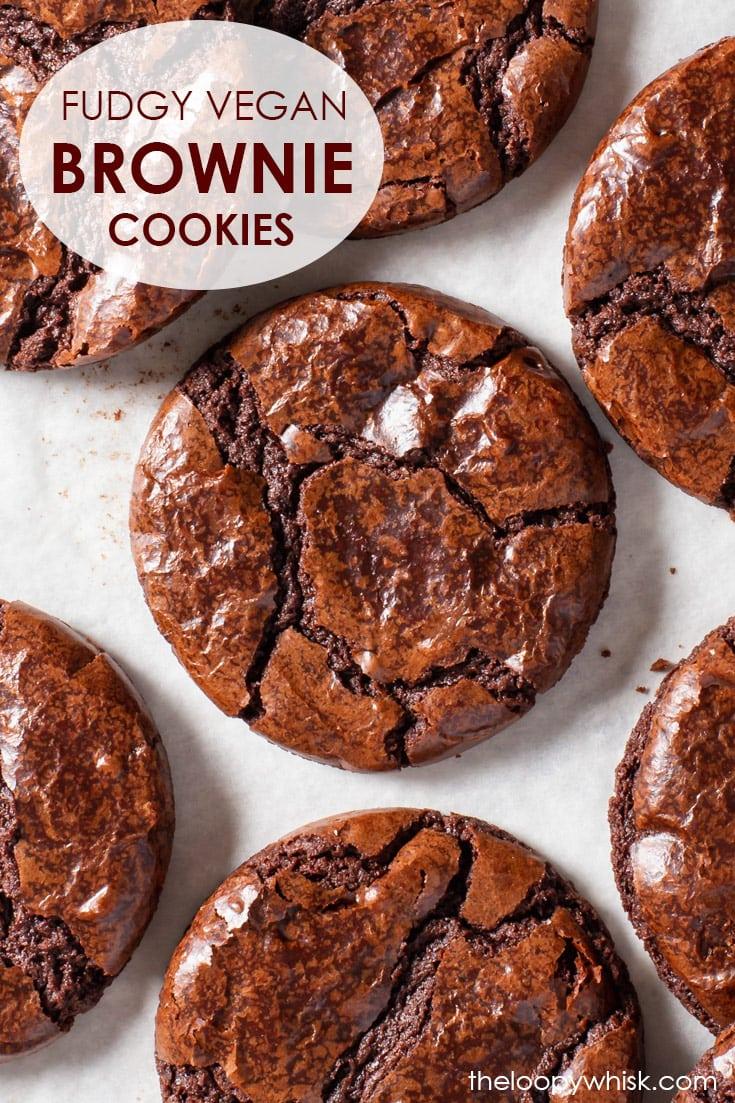 Pinterest image for vegan brownie cookies.