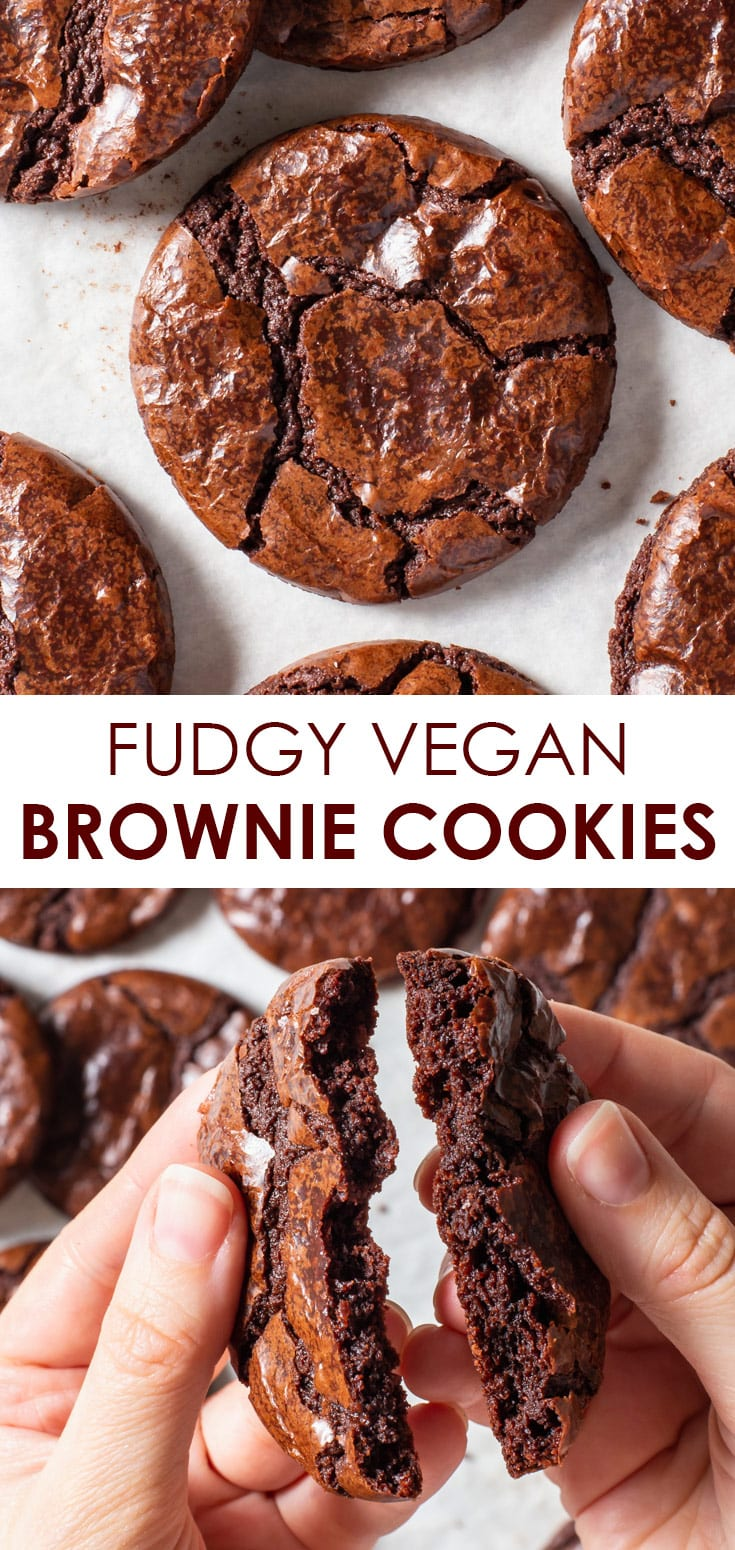 Pinterest image for vegan brownie cookies, in the form of a collage.