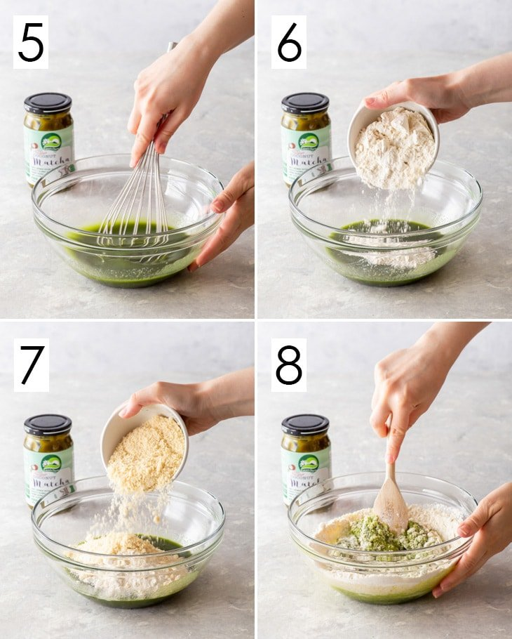 The second 4 steps of the 8-step process of making vegan matcha cookie dough.