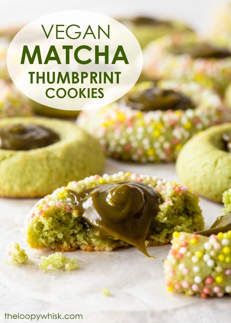 Pinterest image for vegan matcha thumbprint cookies.