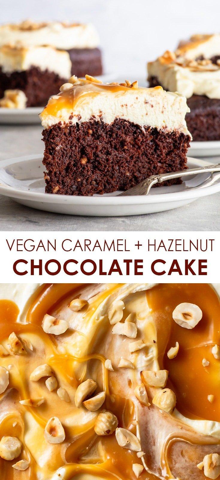 Pinterest image for vegan hazelnut chocolate cake with caramel-swirled frosting.