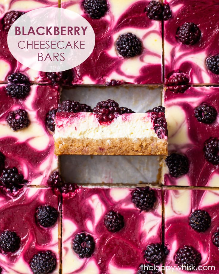 Pinterest image for blackberry cheesecake bars.