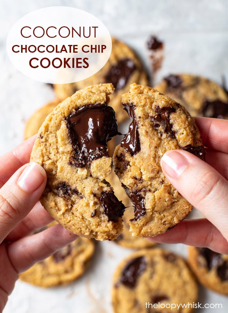 Pinterest image for coconut chocolate chip cookies.