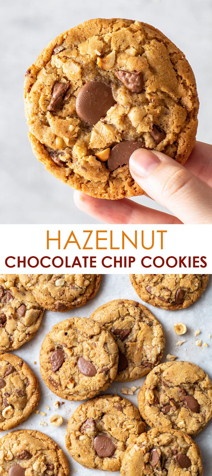 Pinterest image for hazelnut milk chocolate chip cookies.