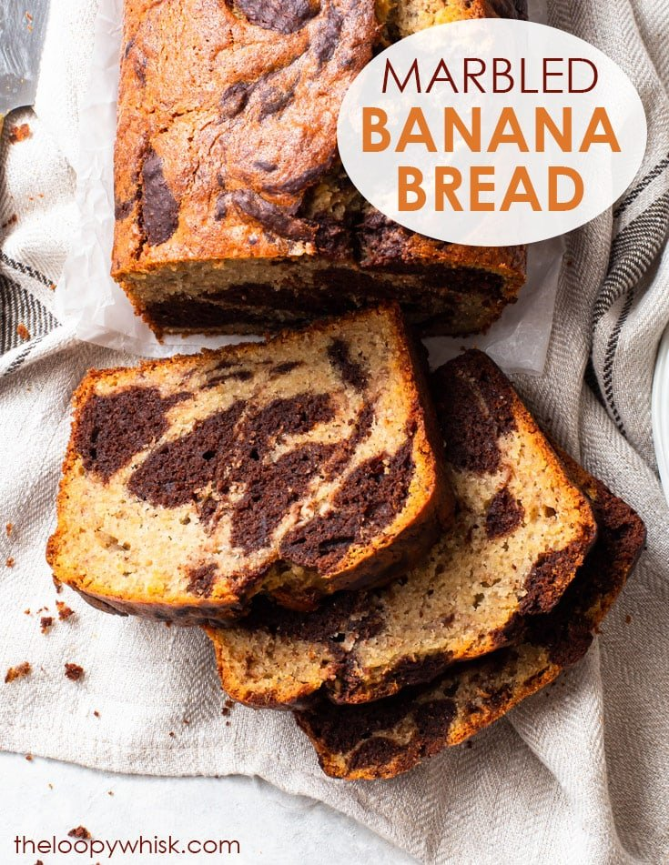 Pinterest image for gluten free marbled banana bread.