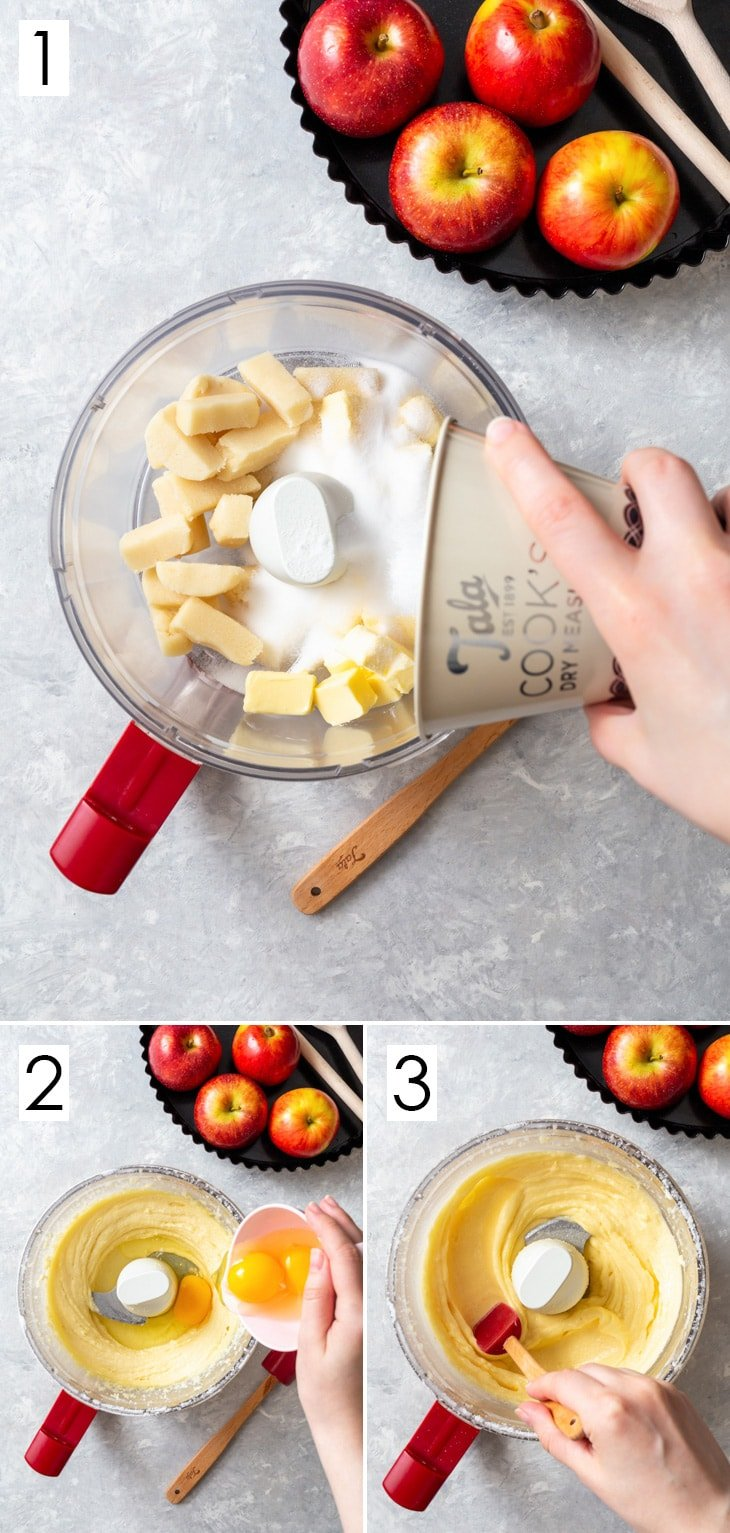 The first 3 steps of the 6-step process of making the marzipan frangipane filling.