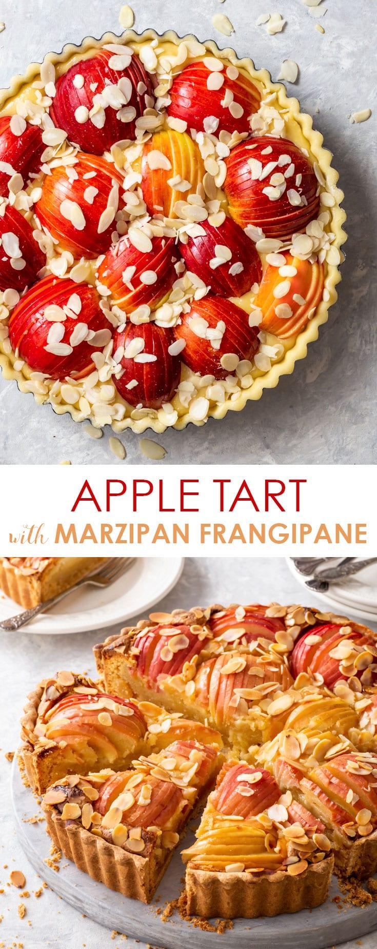 Pinterest image for apple tart with marzipan frangipane.