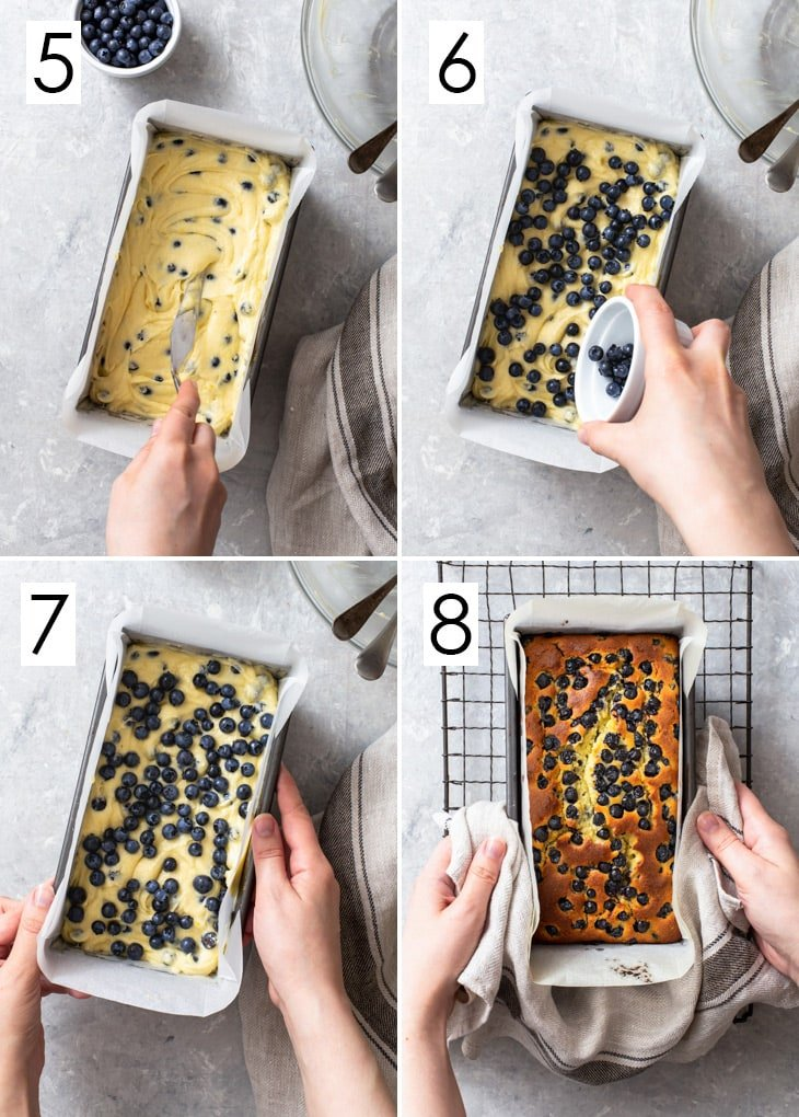The second 4 steps of the 8-step process of assembling the lemon blueberry loaf cake.
