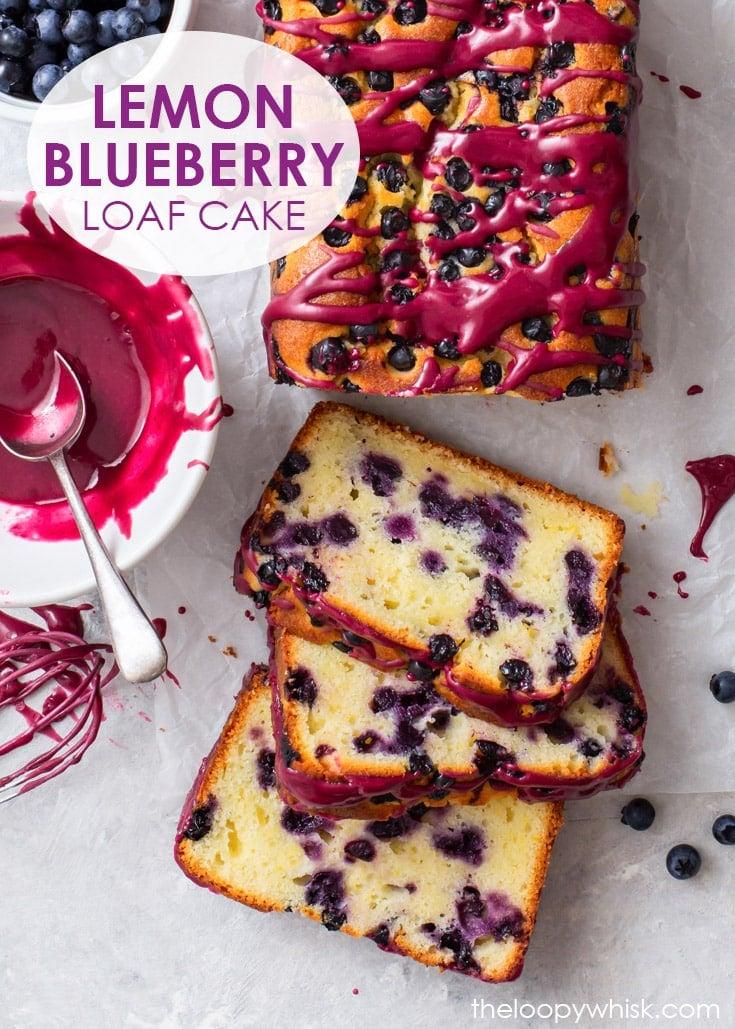 Pinterest image for lemon blueberry loaf cake with blueberry glaze.