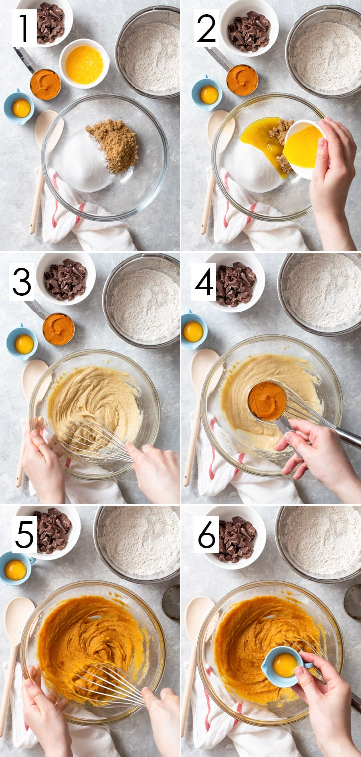 The first 6 steps in the 10-step process of making pumpkin chocolate chip cookies.