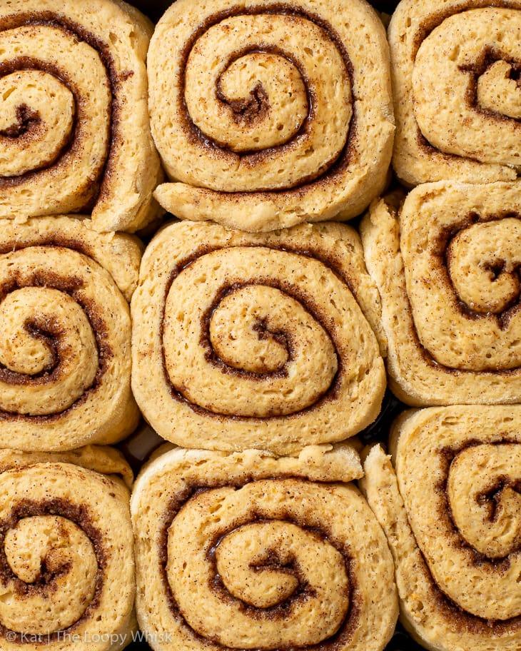 Overhead view of the gluten free pumpkin cinnamon rolls before baking.