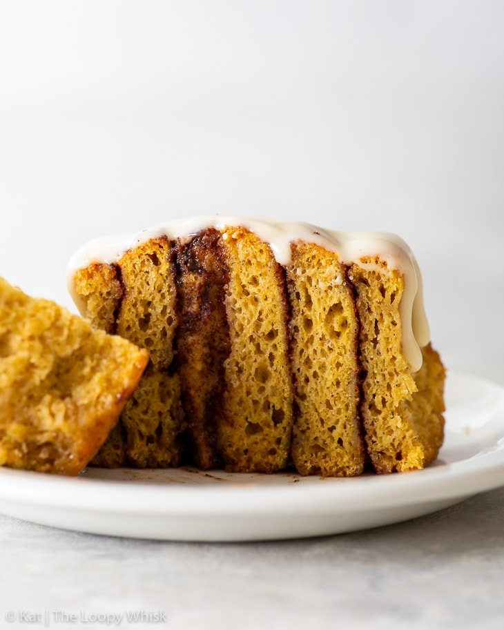 Cross section of a gluten free pumpkin cinnamon roll.