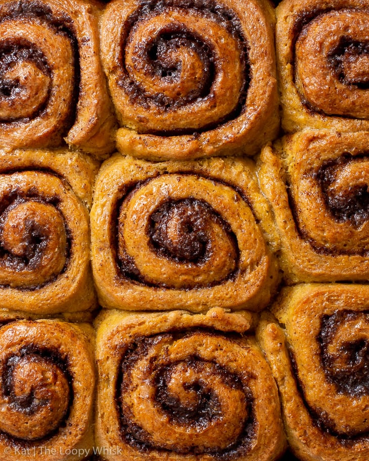 Overhead view of the gluten free pumpkin cinnamon rolls after baking.
