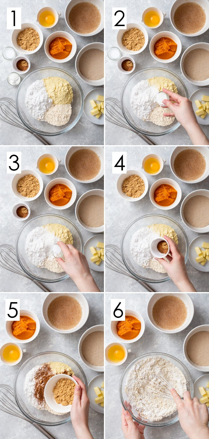 The first 6 steps of the 10-step process of making the gluten free enriched dough.