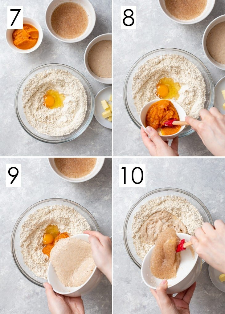 The last 4 steps of the 10-step process of making the gluten free enriched dough.