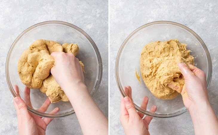 Kneading the soft gluten free enriched dough.