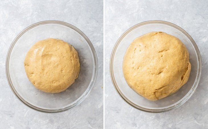 First rise of the enriched gluten free dough until doubled in volume.